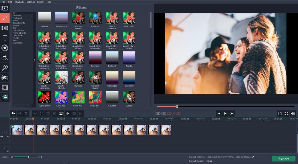 Movavi video editor interface